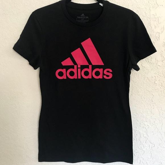 pink and black adidas shirt